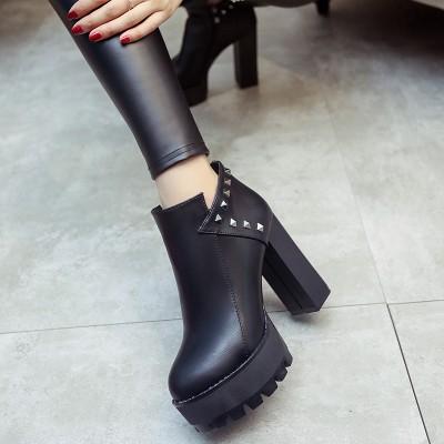 短靴女英倫風 鉚釘性感女士高跟皮靴2016 粗跟防水臺 靴子潮