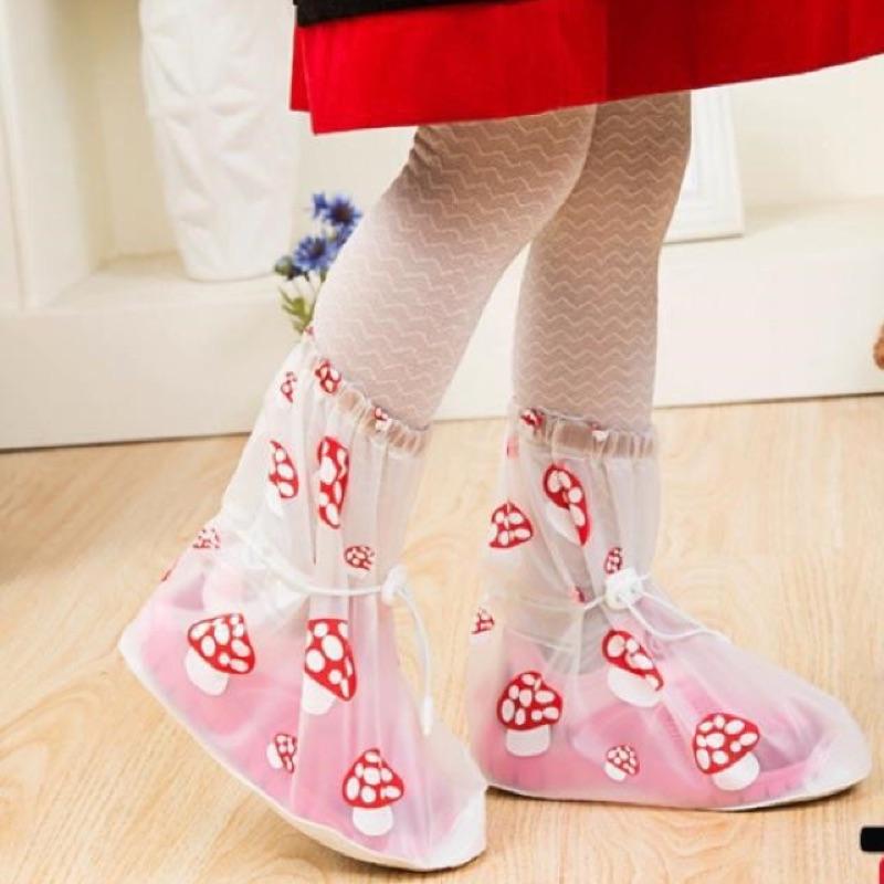 正品兒童雨腳套雨鞋套可愛蘑菇款可重覆