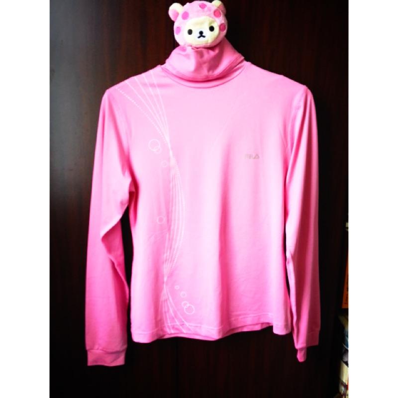 FILA 粉紅色長袖套頭遮陽涼感口袋機能布內衣車衣上衣自行車裝備防曬