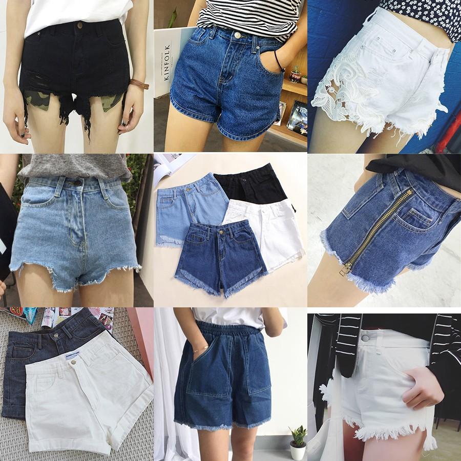 女裝牛仔褲顯瘦高腰 學生牛仔短褲女士百搭破洞熱褲潮
