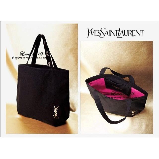 YSL 聖羅蘭雜誌附錄金色刺繡粉內裡黑色帆布多用途側肩包 袋托特包側背包手提包( )