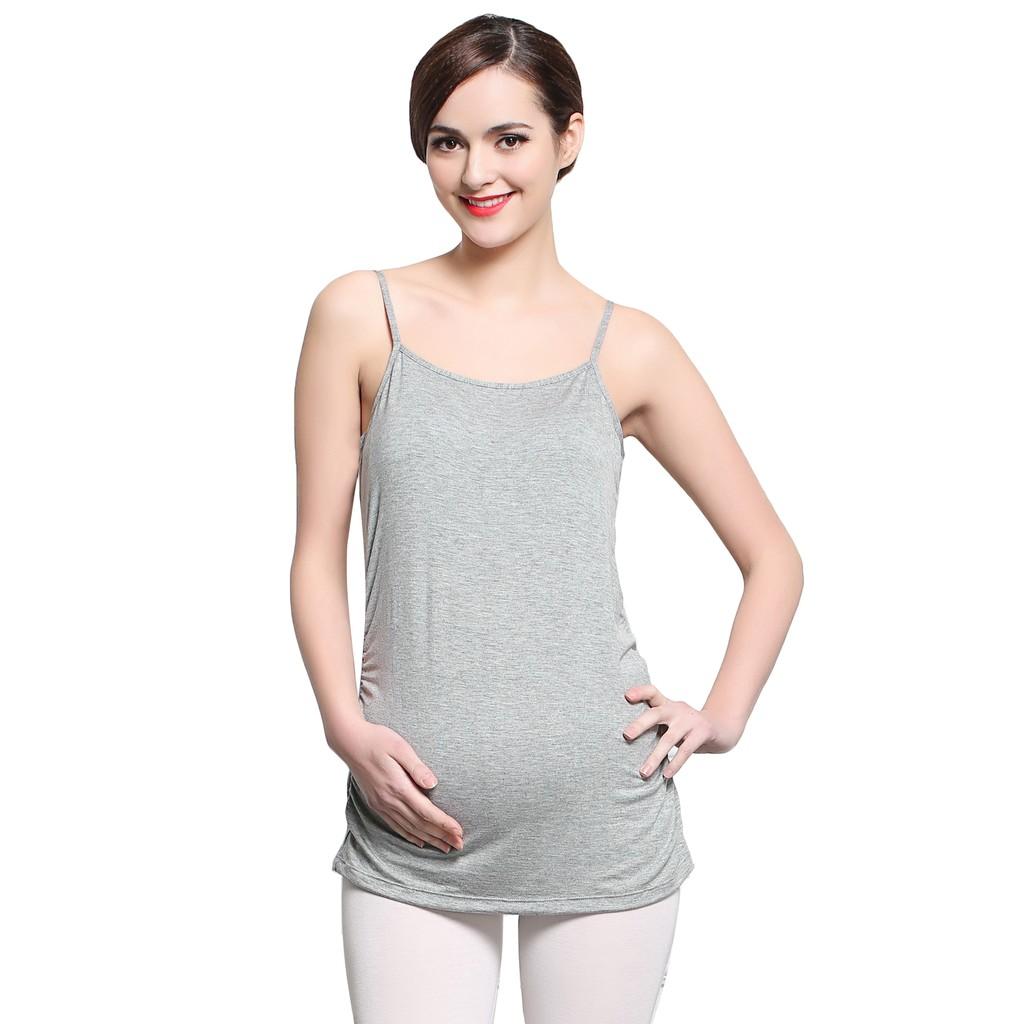孕婦吊帶背心孕婦背心打底上衣吊帶衫寬松夏灰色