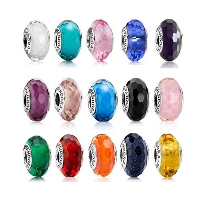 廠貨PANDORA 多色切面琉璃珠charms 925 純銀女性飾品串珠手鍊潘朵拉