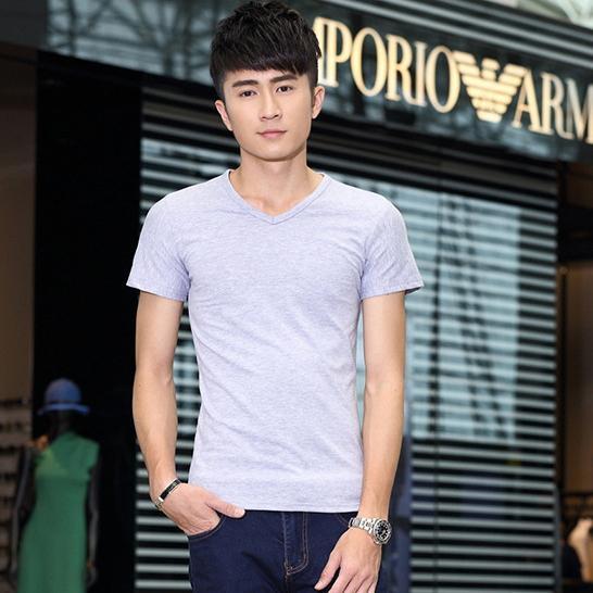 G01 秋 男士純色 棉質短袖T 恤立體剪裁舒適好穿高彈力棉吸濕透氣舒柔 V 領上衣此為V