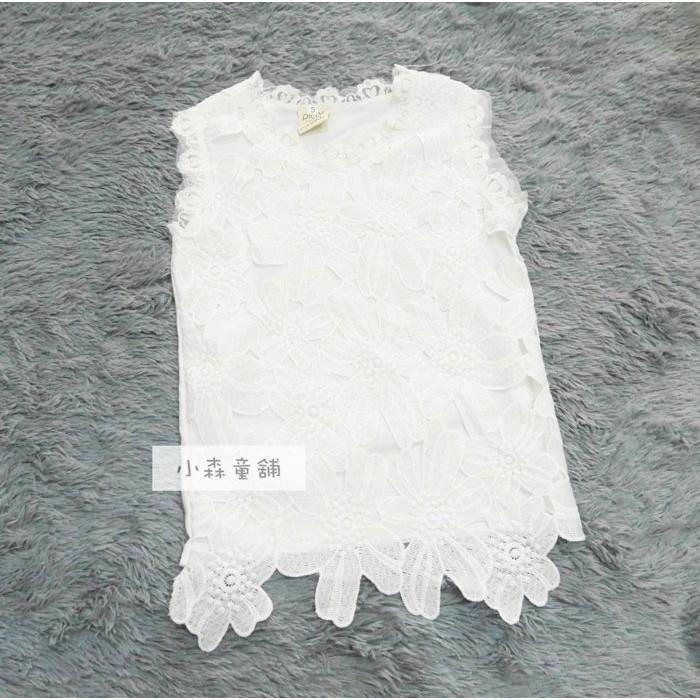 小森童舖2016 春夏女童氣質款白色系滿滿布蕾絲花棉質背心洋裝長上衣5 7 9 11 13