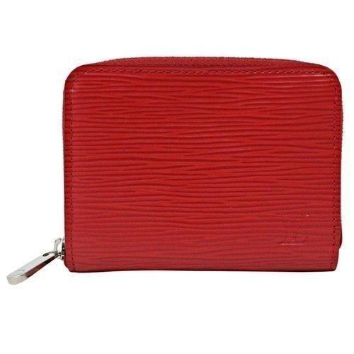 Louis Vuitton LV M60720 水波紋皮革信用卡拉鍊零錢包紅LV 錢包拉鏈