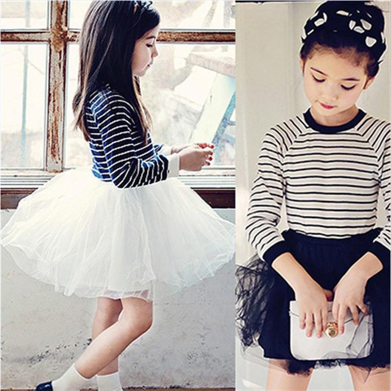 女孩長袖衣服方條紋公主芭蕾舞短裙