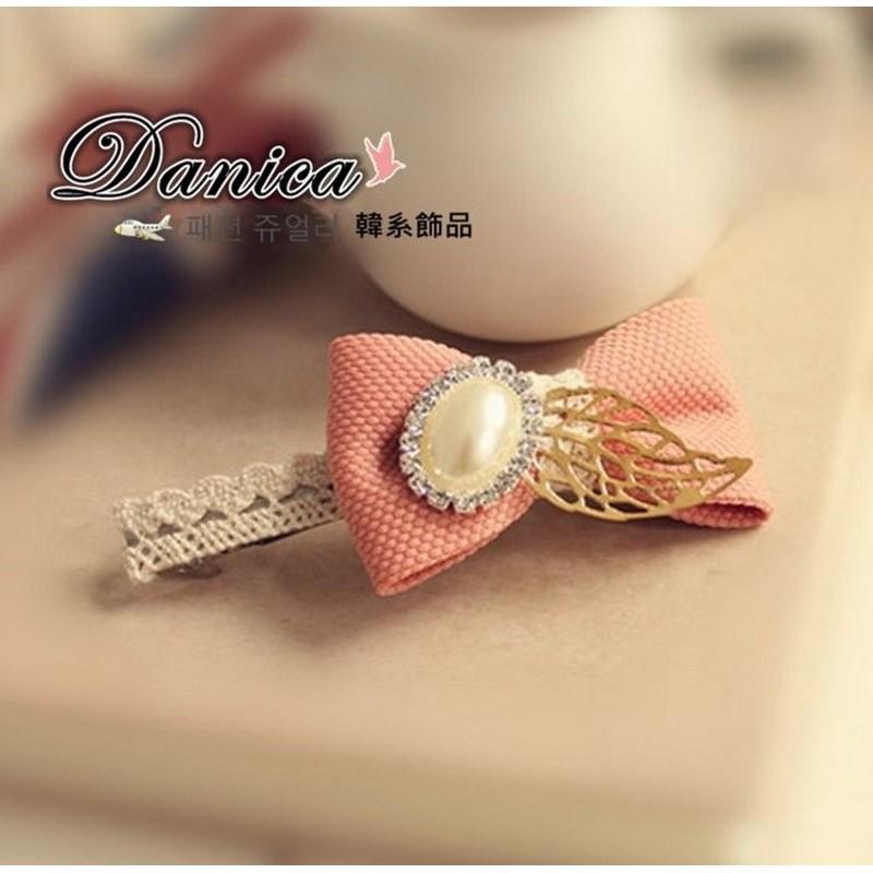 彈簧夾 韓國 甜美浪漫手作法式蕾絲蝴蝶結葉子珍珠水鑽髮夾彈簧夾K7644 單個價Danic