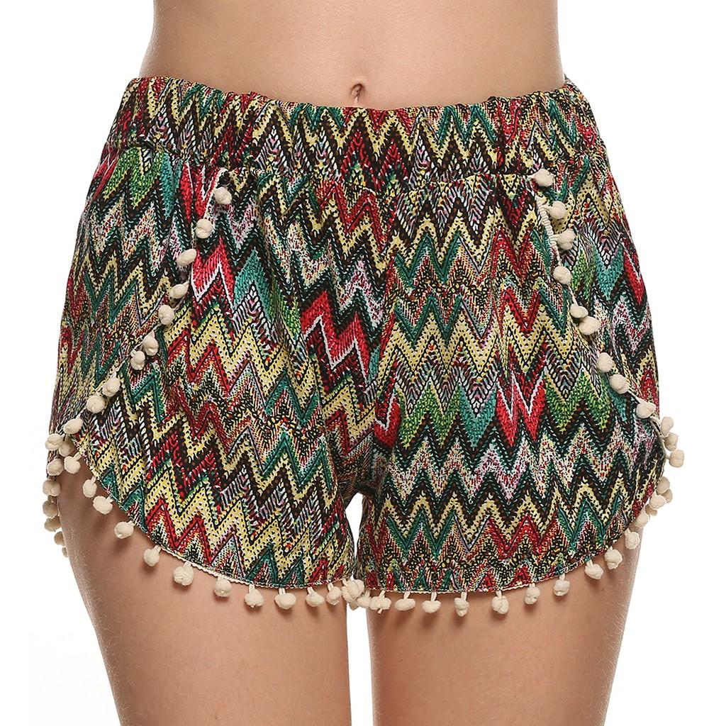 沙灘褲短褲休閒寬鬆印花流蘇迷你 沙灘褲