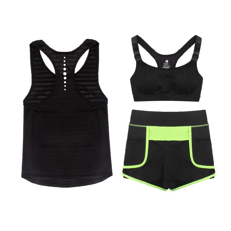 瑜伽服三件套 速乾戶外跑步健身房 套裝健身服