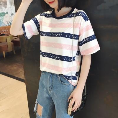 條紋短袖t 恤女 圓領打底衫夏裝半袖上衣服女
