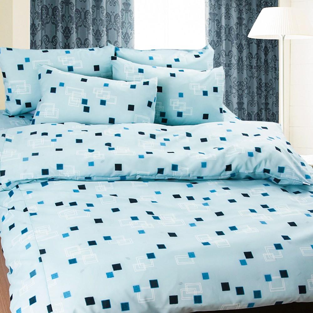 ❤ 5 折❤床包被套組單人雙人~02 藍洋之框藍~100 超細纖維,Artis 製