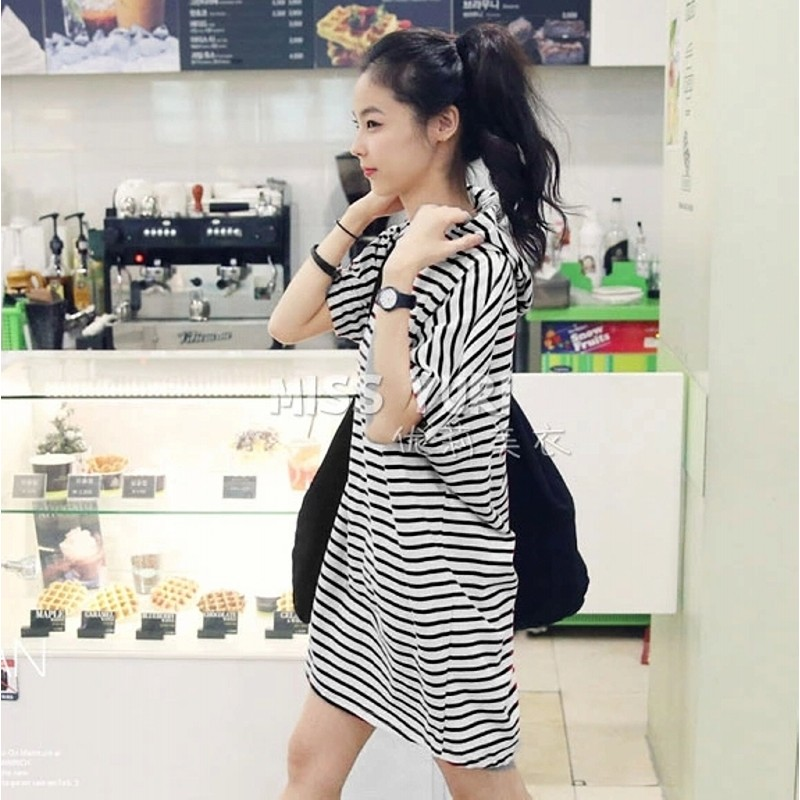 ~秒出 ❤韓風俏麗休閒連帽條紋蝙蝠袖長版t 恤洋裝~黑色❤單一尺寸美美