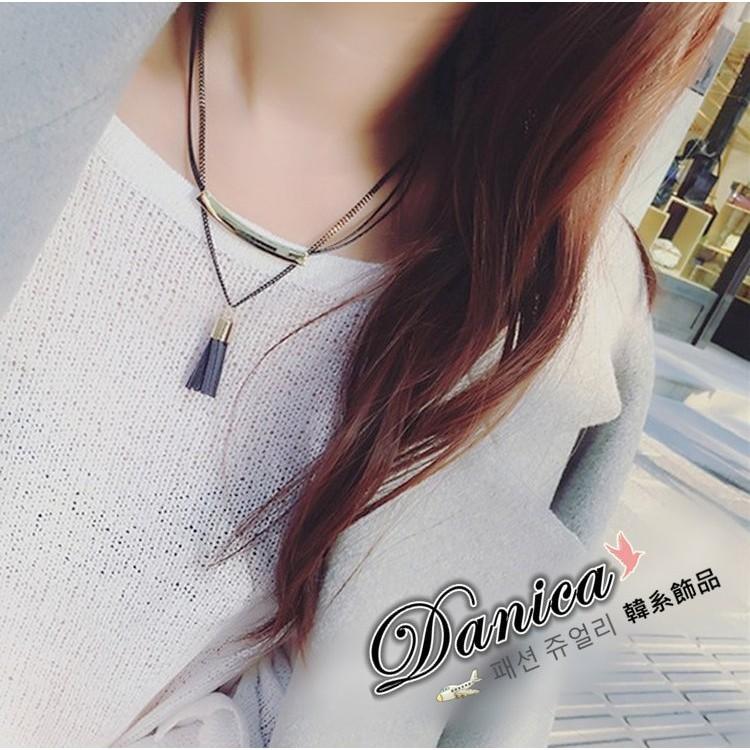 ❤項鍊❤韓國 氣質甜美百搭簡約雙層金屬感流蘇皮質吊飾項鍊 2 件組K2407 價Danic