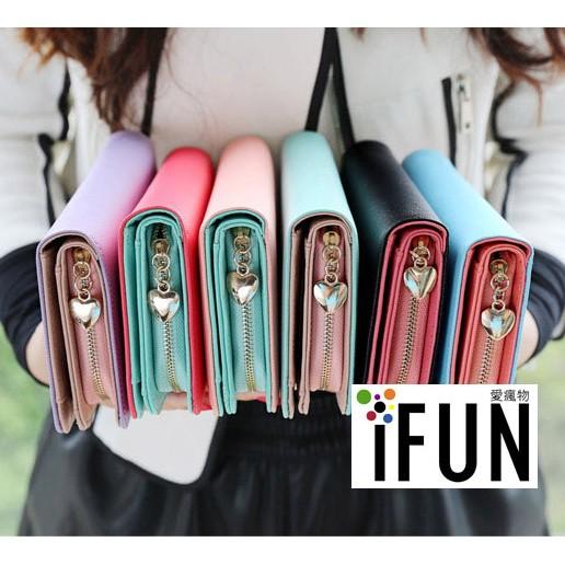 ~iFun ~~簡約素面大容量長夾~糖果色長夾長皮夾皮包錢包手拿包手機包卡包零錢包包包