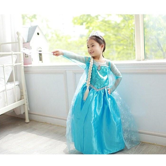 冰雪奇緣~藍色長袖長裙披風優雅款 ~萬聖節小公主洋裝禮服艾莎公主角色扮演服裝