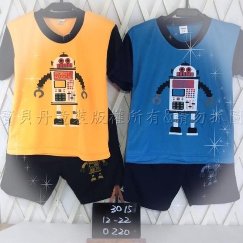 ~╮寶貝丹 ╭~簡單素面 機器人圖案透氣排汗舒適男女童短袖套裝 ~