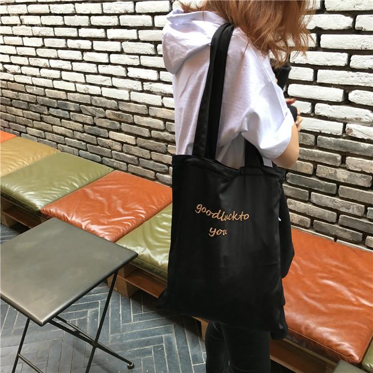 最實惠 兩面刺繡學生手提包環保 袋女生 軟包包韓系 單肩包