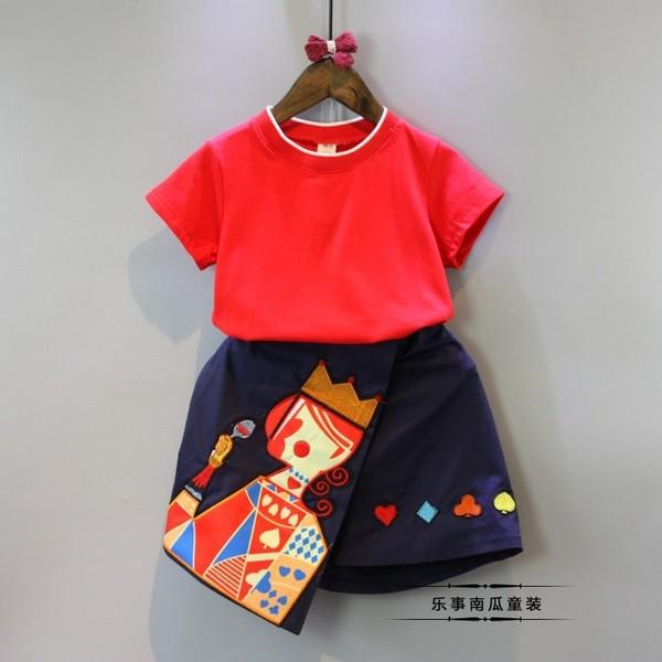 ~耐心等候~韓國 2017 女童夏裝 紅桃k 短袖t 恤裙褲套裝寶寶夏裝套裝