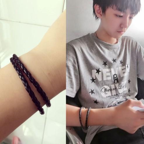TFboys 王俊凱李易峰同款皮繩手鍊黑色 編織手繩男女情侶手環