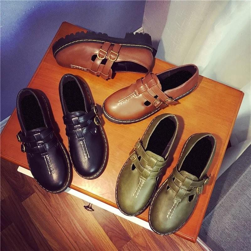 英倫復古原宿學院風松糕中跟厚底圓頭娃娃鞋日系小皮鞋女單鞋