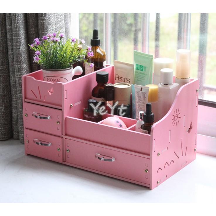 ~Ye Yt ~DIY 5mm 海濱3 抽防水加厚板桌面化妝品收納盒收納架 粉色白色