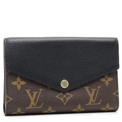 Louis Vuitton LV M60990 花紋皮革拼接中夾黑LV 錢包卡片夾