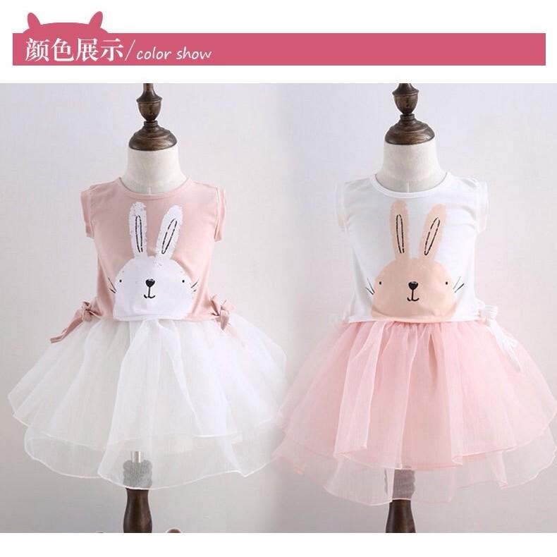 可愛兔子T 恤上衣網紗短裙兩件套2017 夏裝 女童套裝
