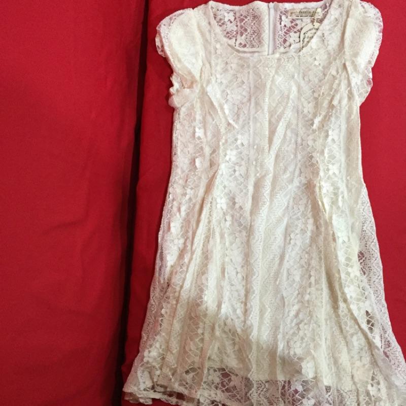 原單dazzlin 簡約柔美花朵蕾絲蝴蝶結綁帶洋裝連身裙