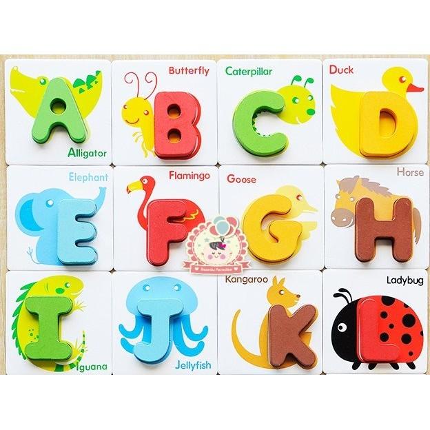 兒童木質學習認識動物拼圖配對積木數字ABC 款