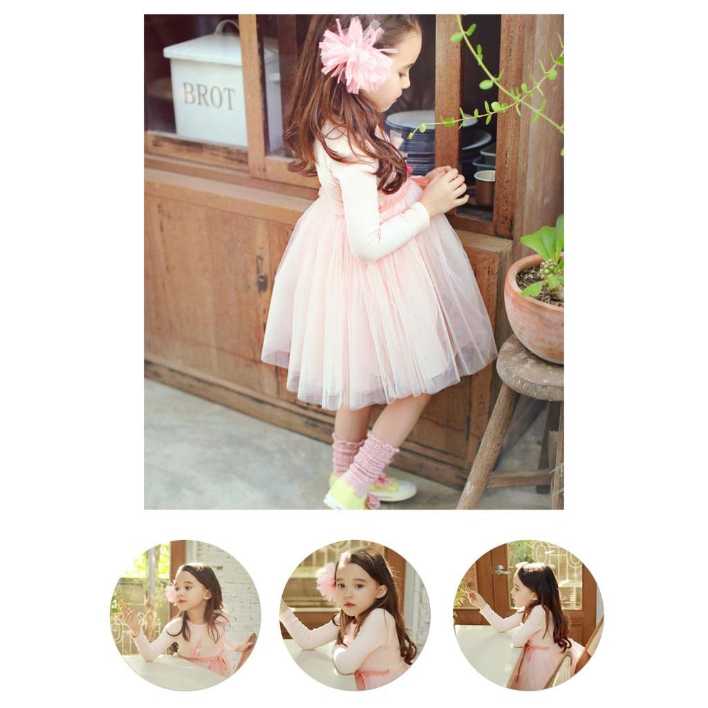 零碼 130cm 氣質粉色長袖純棉紗裙洋裝