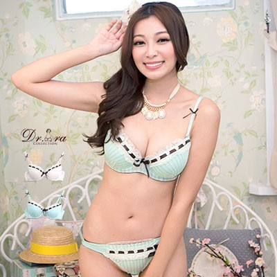 Dr Bra 內衣 ~007012 ~☛成套販售☚韓國空運‧可愛蕾絲緞帶滾邊蝴蝶結條紋深V