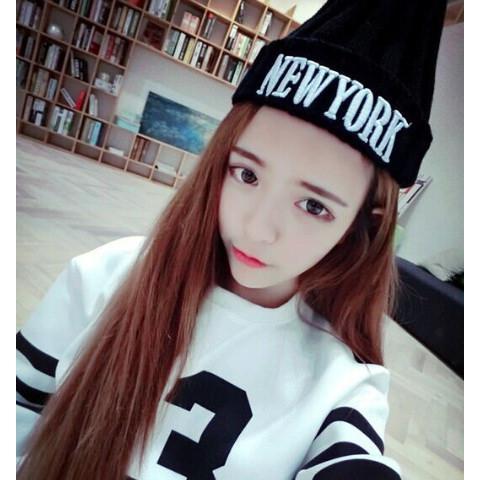 ~灰熊Q ~韓國新品原宿NEWYORK 毛線帽子女 潮 可愛針織套頭帽尖尖帽毛帽針織帽潮帽