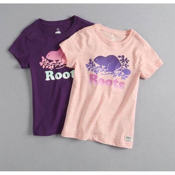 ~28 賣場~ 正品roots 官網同步專櫃 短袖T 恤(紫色粉色)