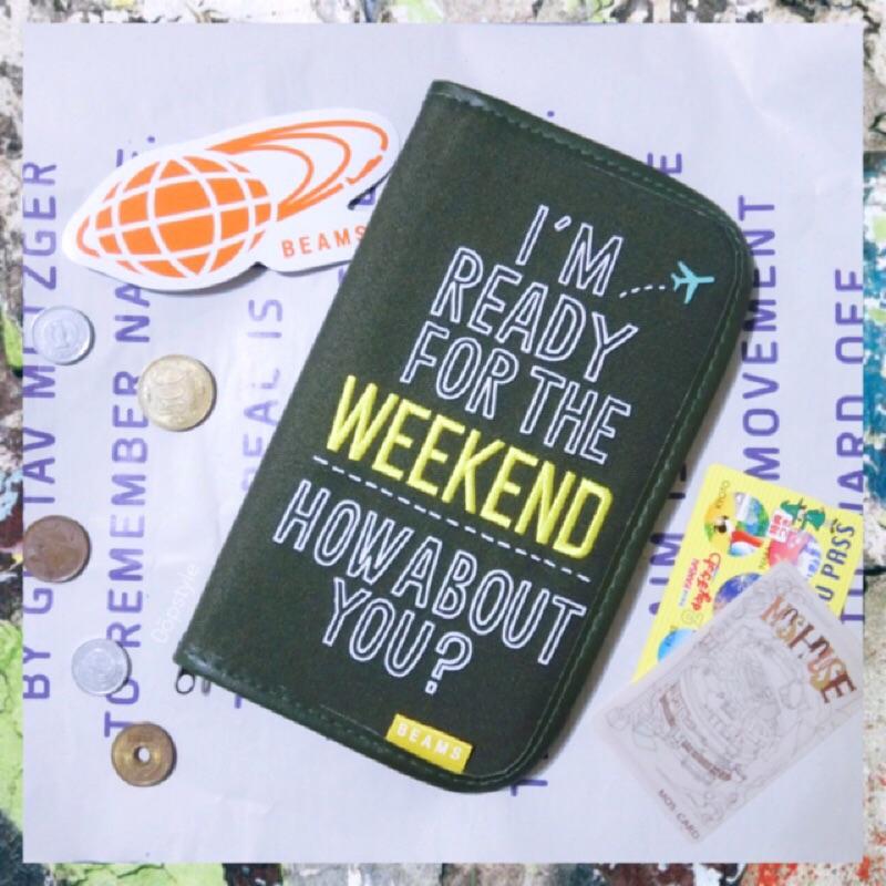 0 öpstyle  日系品牌BEAMS 護照套收納包護照夾旅行刺繡護照包多 附錄軍綠色