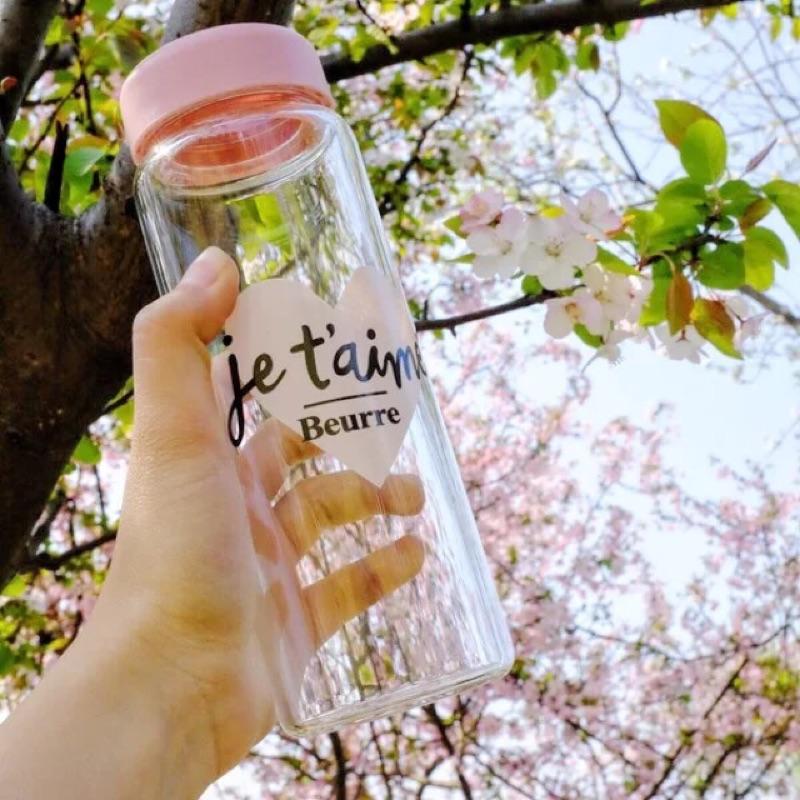 ✅韓國環保♻️玻璃杯便攜水杯My Bottle 女閨蜜愛心~️花茶杯法文我愛你玻璃瓶水果粉