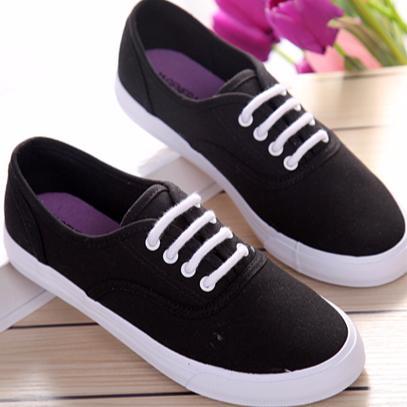 低統低筒糖果色小清新百搭休閒鞋學生鞋帆布鞋黑38