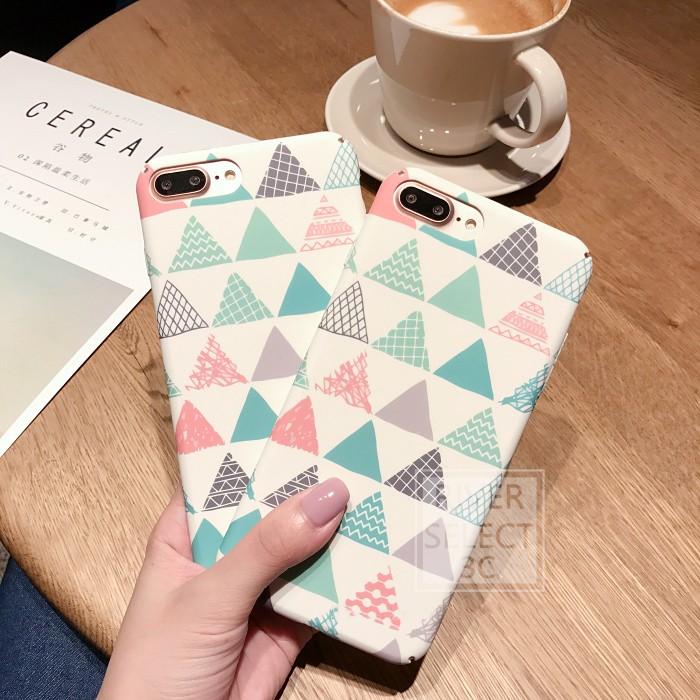 【私藏客製】 文藝三角型磨砂硬殼全包半包蘋果iphone6 6s 6 6s plus 7