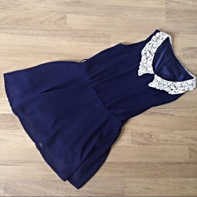 蕾絲領洋裝雪紡深藍色縮腰有腰身顯瘦有內裡 款短裙