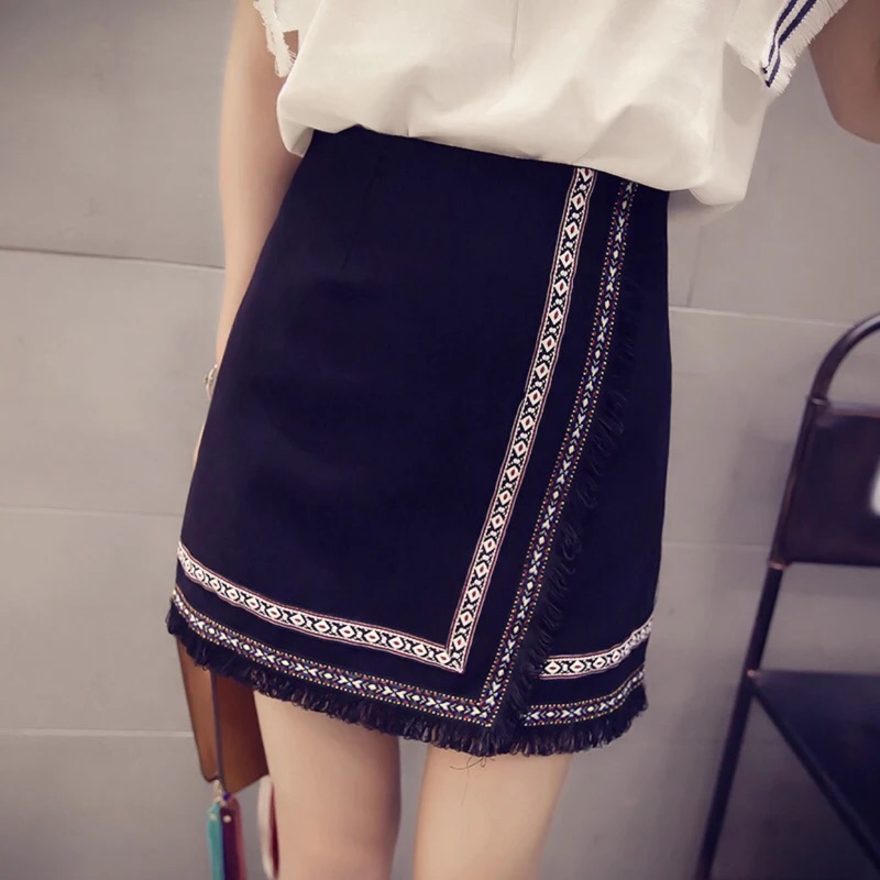 氣質甜美高腰A 字一步裙復古民族風繡花短裙