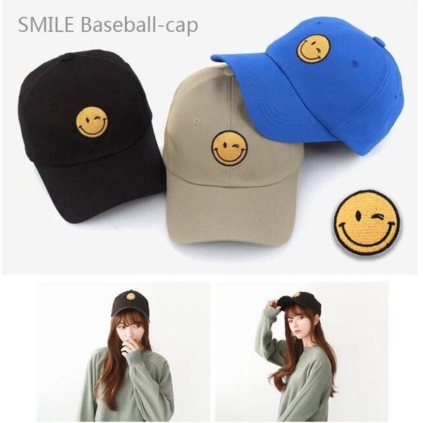 韓國 可愛眨眼笑臉刺繡微笑圖案棒球帽彎帽老帽鴨舌帽子K664