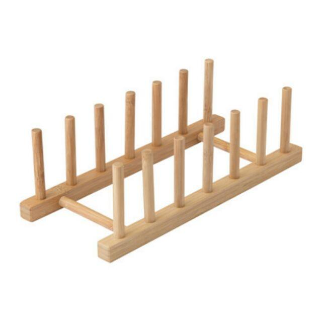 IKEA OSTBIT 置盤架放盤子的架子瀝水架竹製