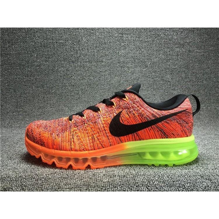 正品Nike Air Max Flyknit 全掌氣墊飛線編織 鞋慢跑鞋男鞋橘綠62046