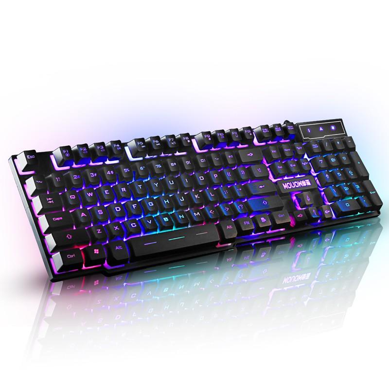 3C 狂人摩箭LOLCF 背光游戲電腦臺式發光機械手感筆記本外接USB 有線鍵盤