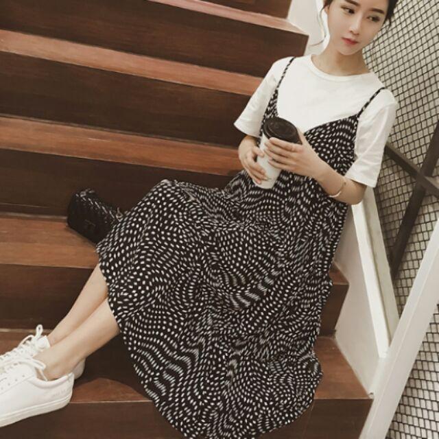 XL 350 不賺錢Y026  莫代爾上衣雪紡黑白點吊帶裙2 件套