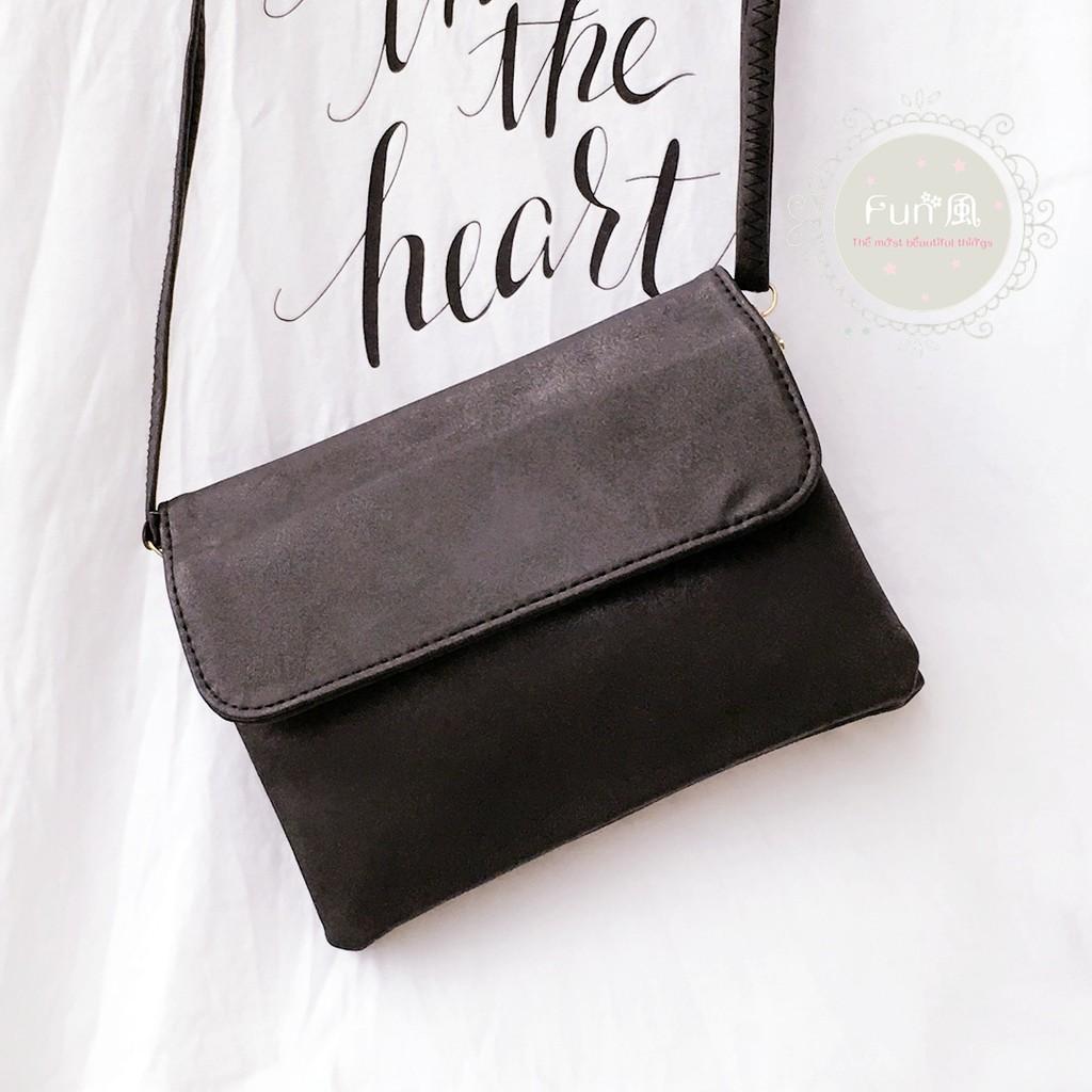 隨便賣啦 黑色双層磨砂斜背包 小包簡約小方包時髦手拿包肩背包側肩包女包隨身包化妝包手機包
