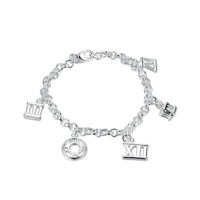 歐洲站 羅馬數字五吊墜女款手鍊 簡約幾何銀飾ROLO 手鍊浪漫情侶送禮 BR083