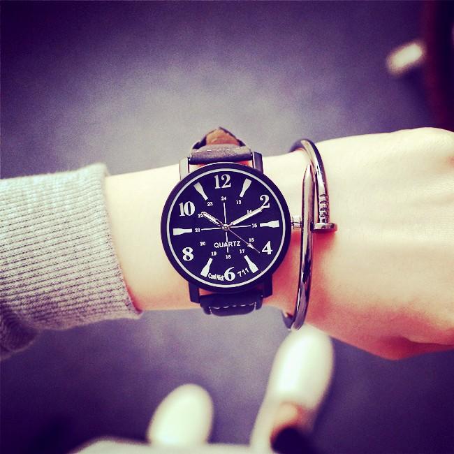簡約森系復古 皮帶休閒 潮流初中學生女生男孩情侶手錶