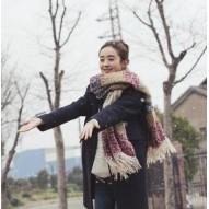 杉杉來了趙麗穎同款圍巾 條紋拼色馬海毛保暖超柔圍脖披肩~東京戀歌~