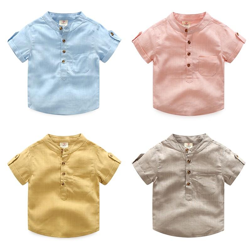 E1925 韓系男童立領T 恤上衣百搭棉麻兒童短袖上衣tx 8359 MAMA 咪呀 衣鋪